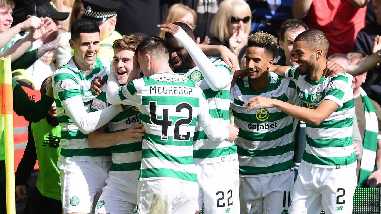 Celtic's James Forrest celebrates after scoring the winner in the Old Firm derby against Rangers.