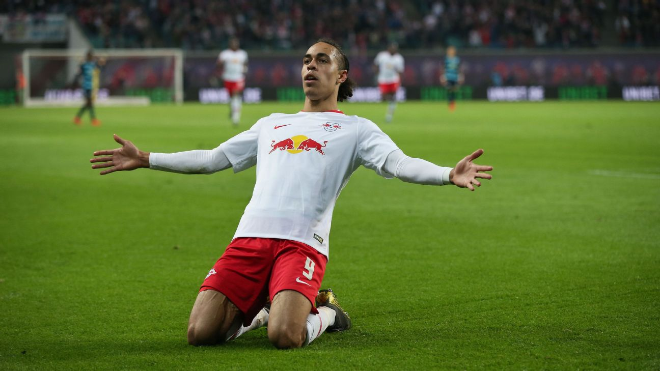 Yussuf Poulsen celebrates during RB Leipzig's Bundesliga win over Hertha Berlin.