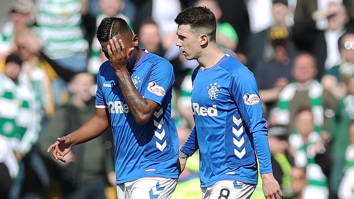 Rangers' Alfredo Morales, left, leaves the pitch after being shown a red card in a loss against Celtic.