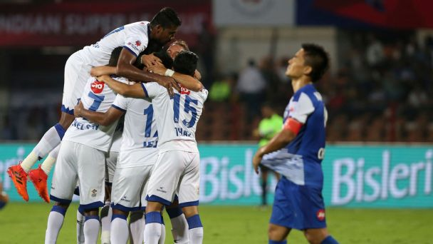 Chennaiyin players celebrate scoring against Bengaluru in the 2018 ISL final.