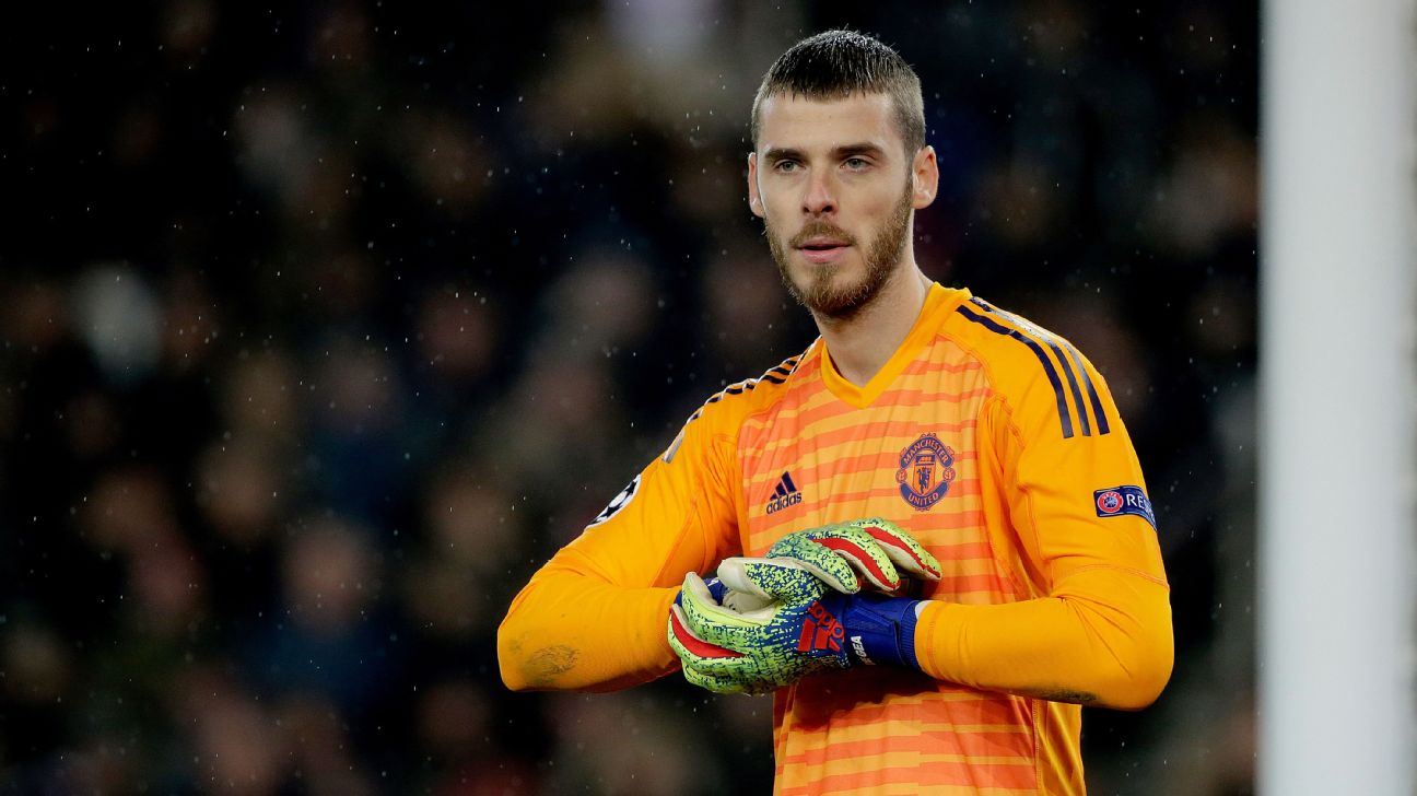 David De Gea looks on during Manchester United's Champions League win at Paris Saint-Germain.