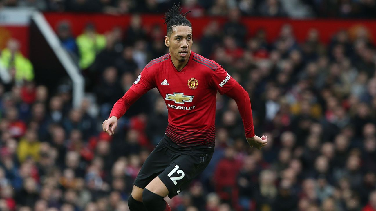 Chris Smalling dribbles the ball during Manchester United's Premier League  match against Southampton.