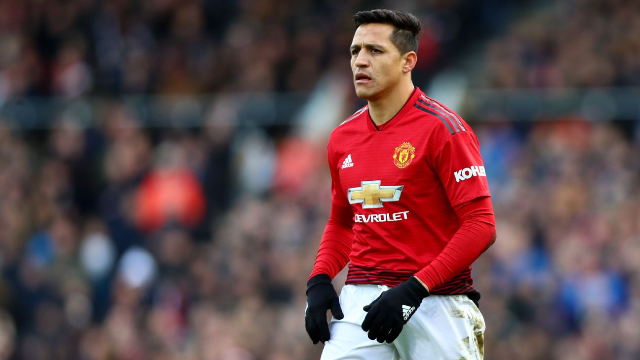 Alexis Sanchez looks on during Manchester United's Premier League match against Fulham.