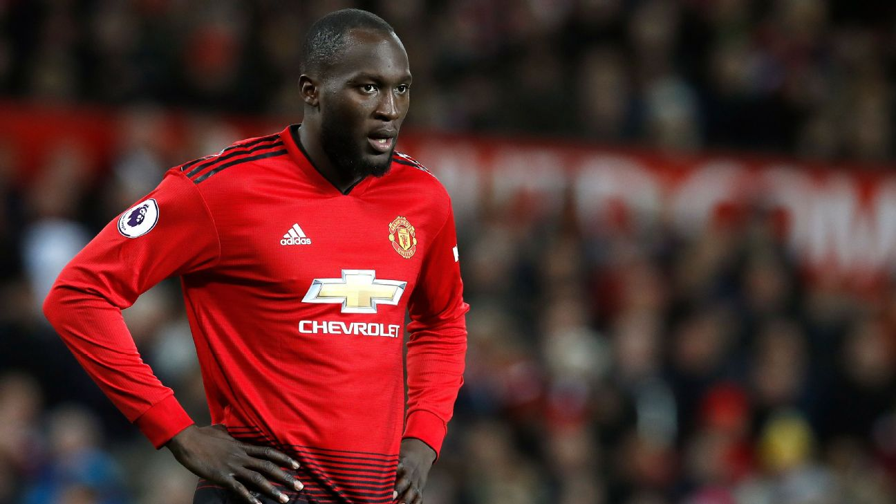 Romelu Lukaku looks on during Manchester United's Premier League match against Everton.