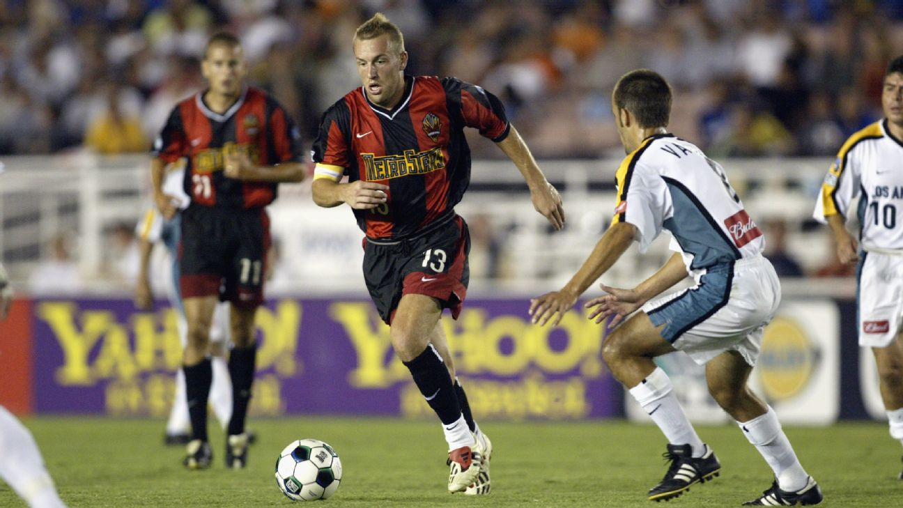 Clint Mathis controls the ball during the New York/New Jersey MetroStars' MLS match against the LA Galaxy.