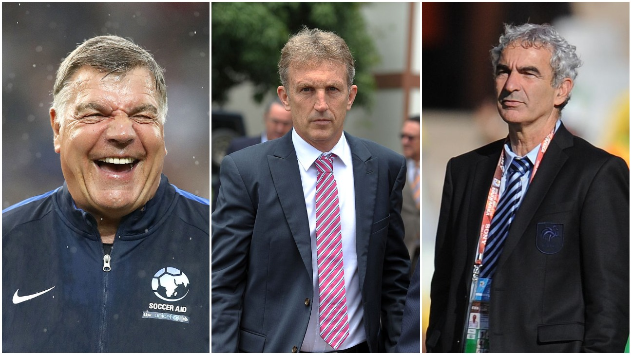 Sam Allardyce (L), Albert Roca (C) and Raymond Domenech.
