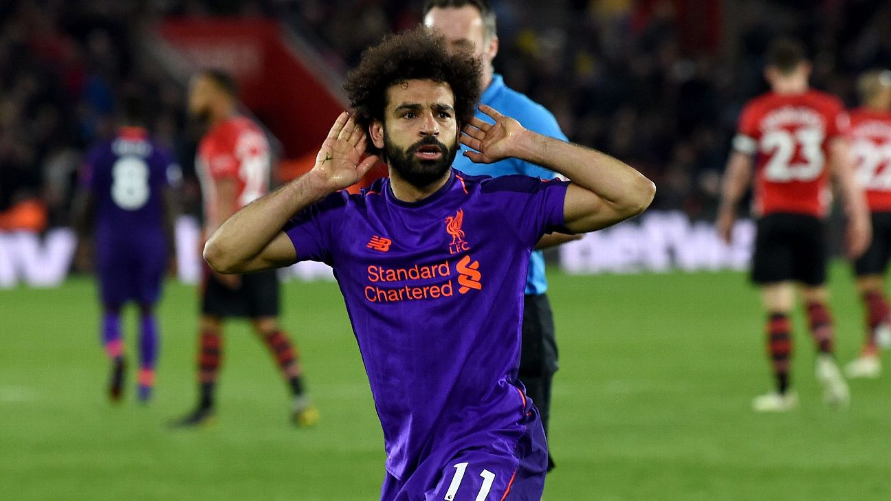Mohamed Salah celebrates after scoring in Liverpool's Premier League win at Southampton.