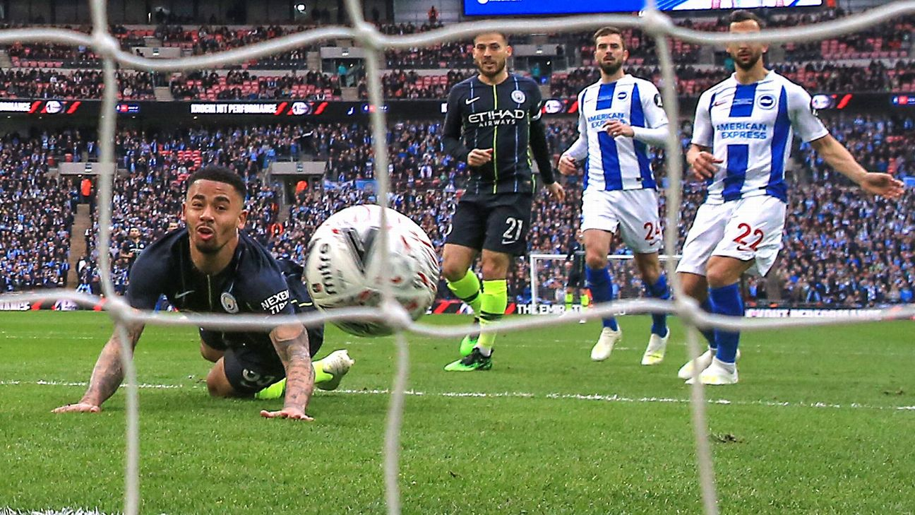 Jesus, centre, scored an early header from De Bruyne's artful cross and the goal proved enough to put Man City in the FA Cup final.