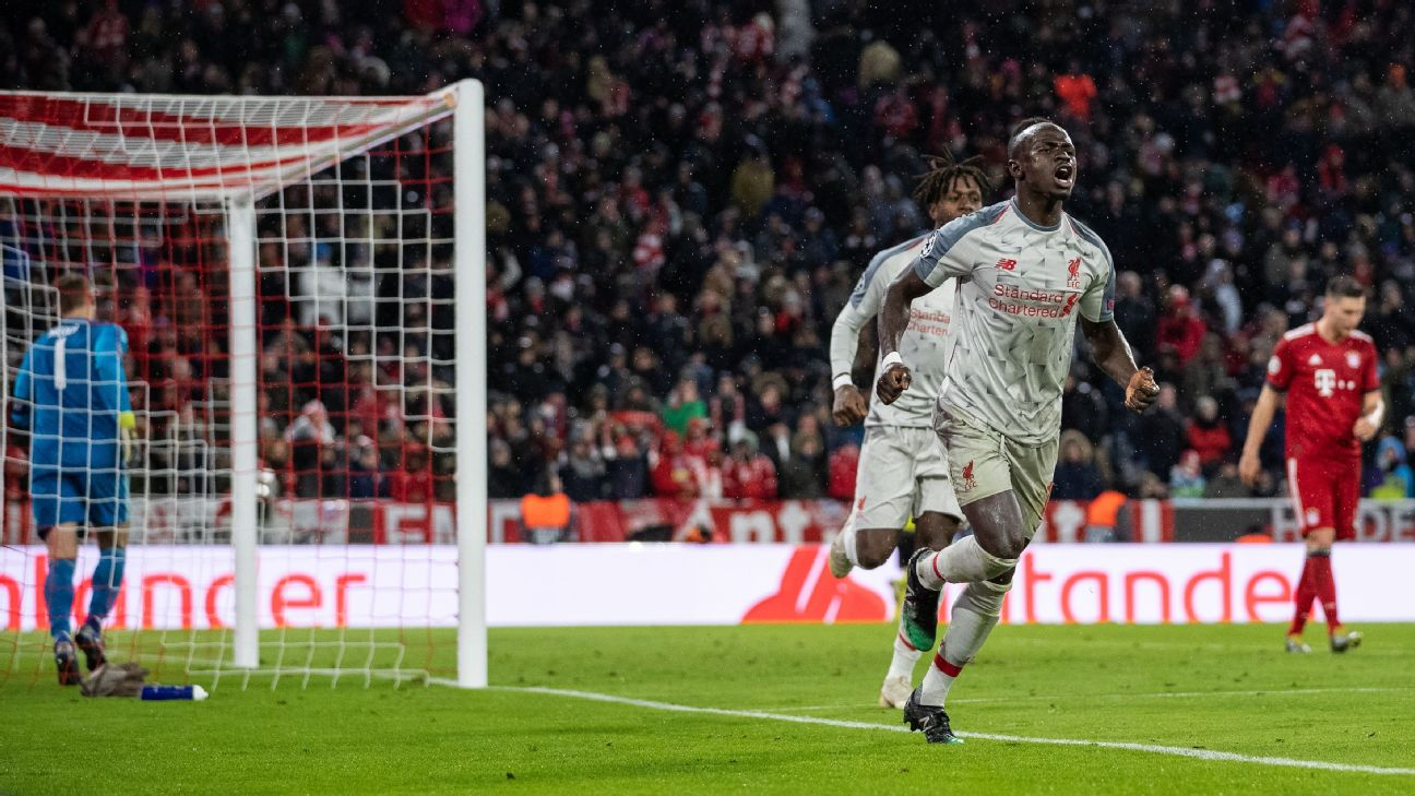 Sadio Mane wheels away having scored Liverpool's third goal during the UEFA Champions League Round of 16 second leg match vs. Bayern Munich at Allianz Arena.