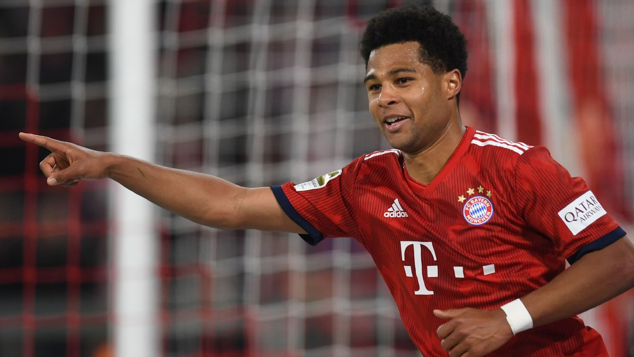 Serge Gnabry celebrates during Bayern Munich's Bundesliga win over Borussia Dortmund.