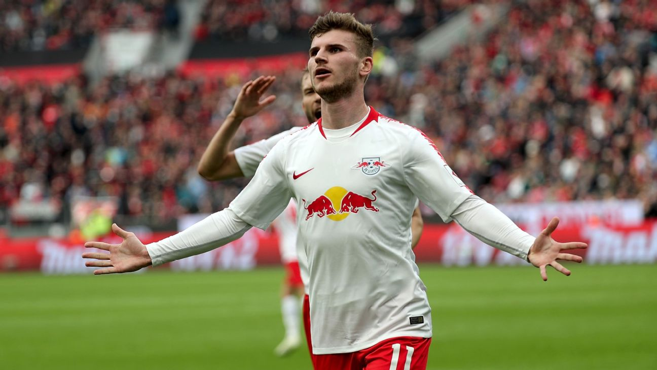 Timo Werner celebrates during RB Leipzig's Bundesliga win over Bayer Leverkusen.