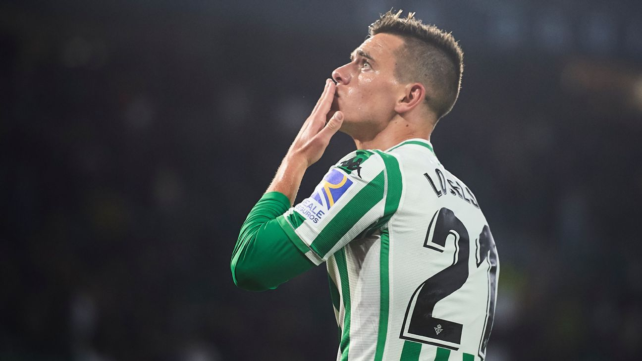 Giovani Lo Celso celebrates after Real Betis' La Liga win over Villarreal.