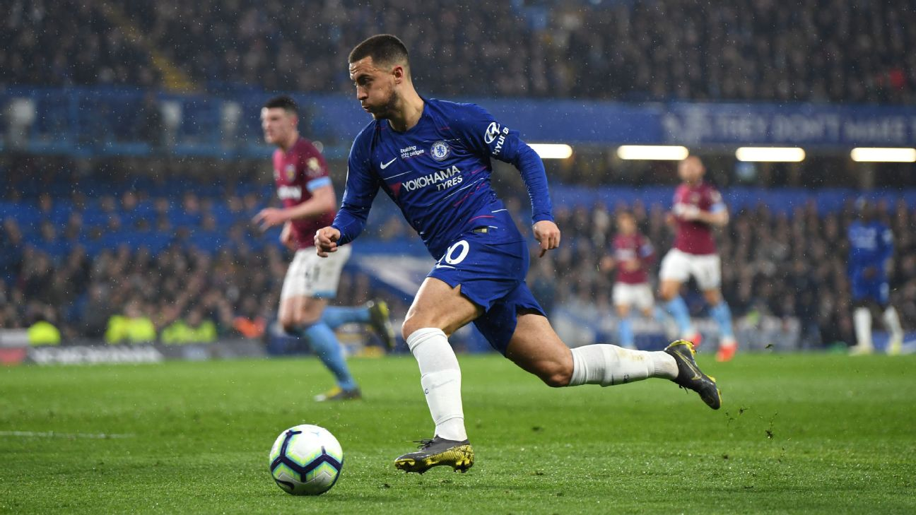 Eden Hazard in action during the Premier League match between Chelsea and West Ham at Stamford Bridge on April 08, 2019.