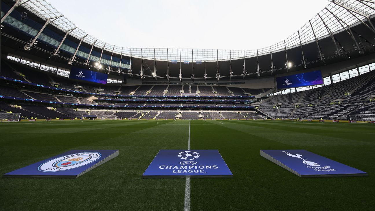 A General view of the Tottenham Hotspur Stadium prior to the UEFA Champions League Quarter Final first leg match between Tottenham Hotspur and Manchester City