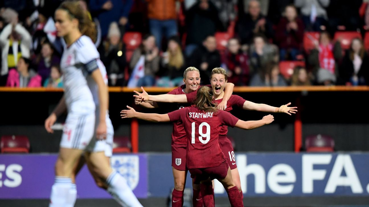 England celebrate during the International Friendly between England Women and Spain Women