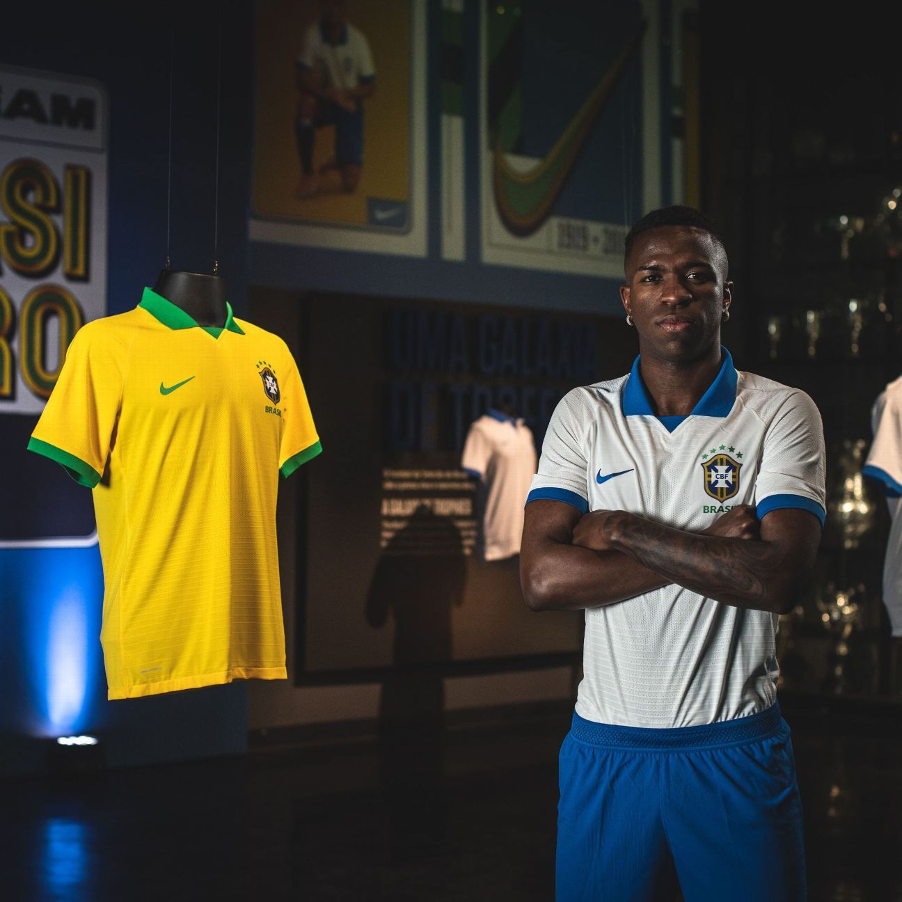 Brazil and Real Madrid striker Vinicius Jr. models Brazil's new white jersey, which the team will wear in matches at the 2019 Copa America.