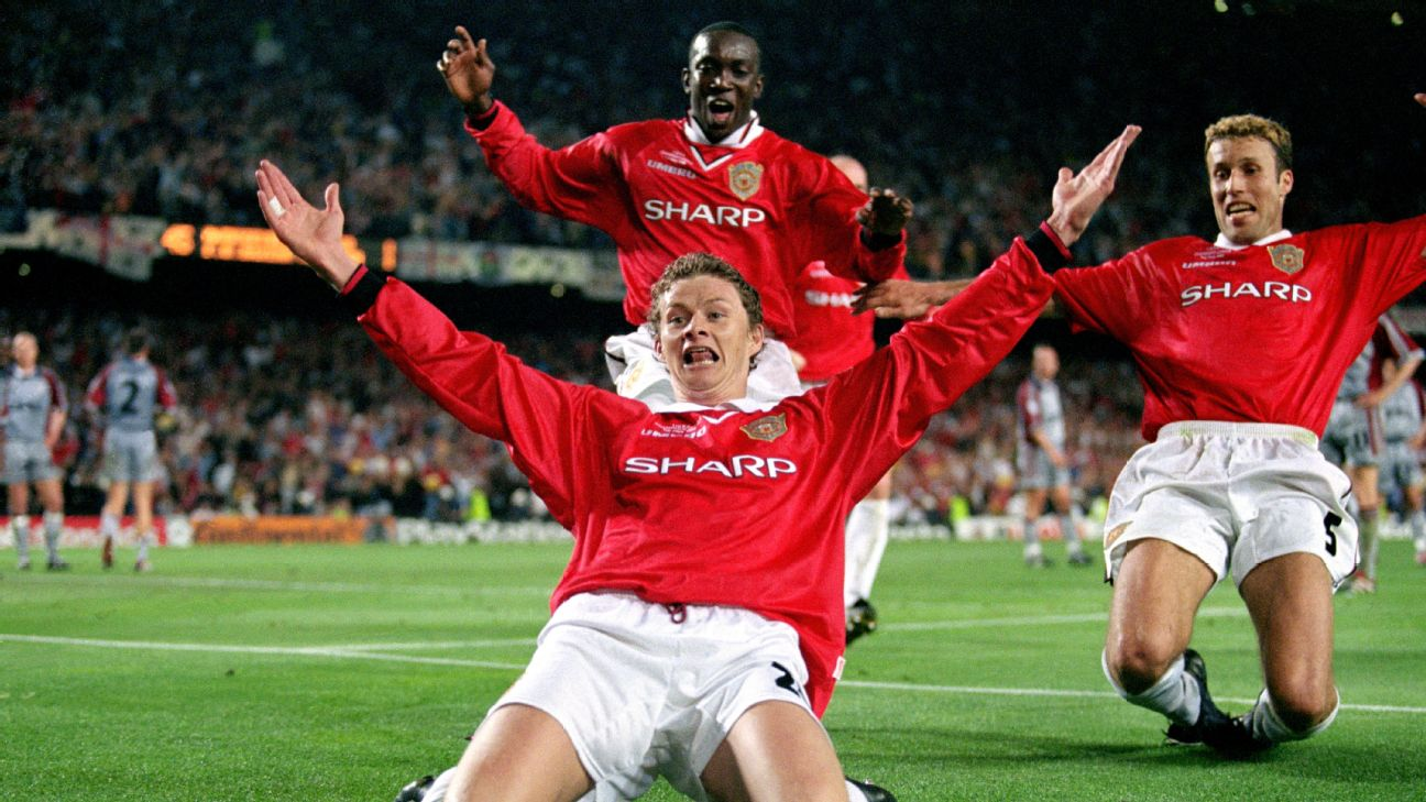 Ole Gunnar Solskjaer's injury-time goal in the 1999 final handed Man United their first and to this day only Treble.