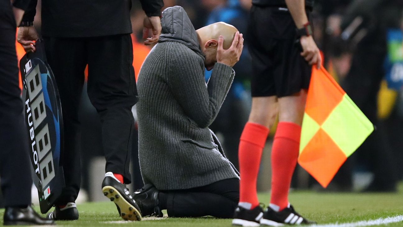 Manchester City boss Pep Guardiola looks dejected as a goal is ruled out via a VAR decision during the Champions League quarterfinal defeat against Spurs.
