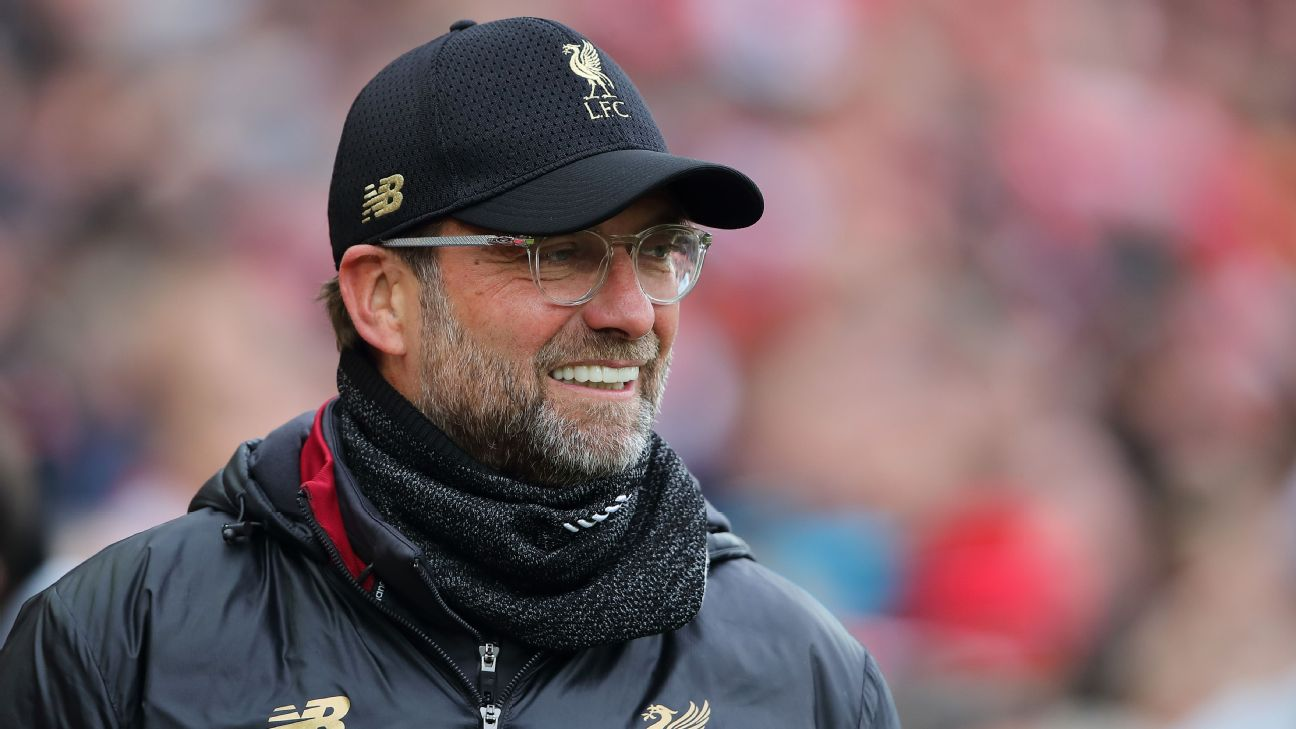 Jurgen Klopp smiles during Liverpool's 2-0 win over Chelsea in the Premier League -- Apr. 14, 2019.