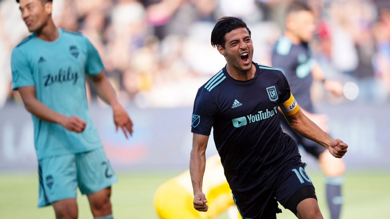 Carlos Vela celebrates after scoring a goal for LAFC against the Seattle Sounders.
