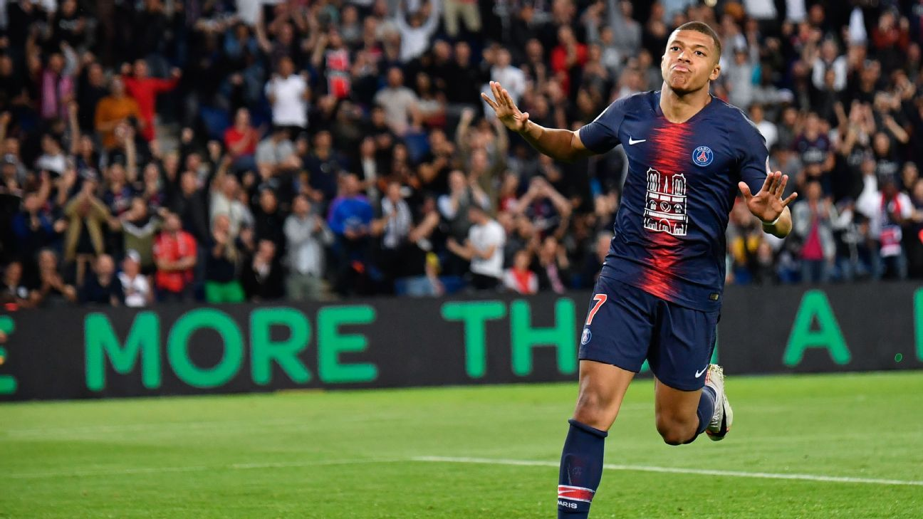 Kylian Mbappe celebrates after scoring during Paris Saint-Germain's Ligue 1 win over Monaco.
