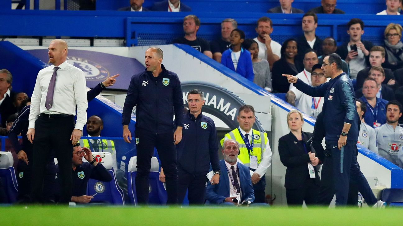 Chelsea manager Maurizio Sarri gestures to the Burnley dugout during his team's 2-2 draw at Stamford Bridge.