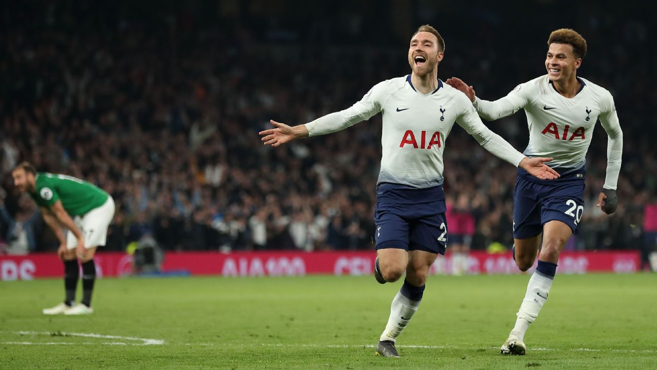 Christian Eriksen of Tottenham celebrates after scoring in a win against Brighton.