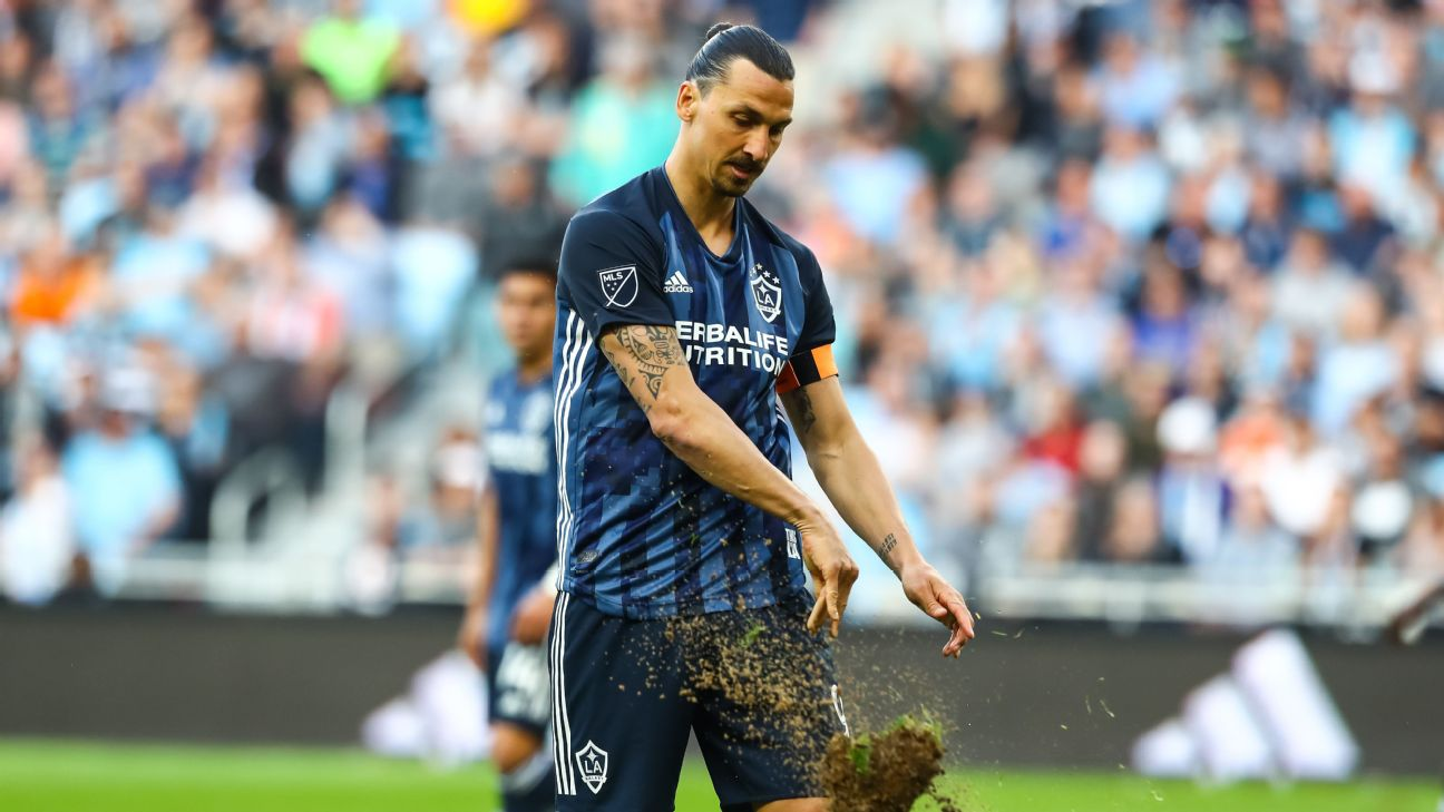 Zlatan Ibrahimovic reacts after missing a shot for the LA Galaxy against Minnesota United.