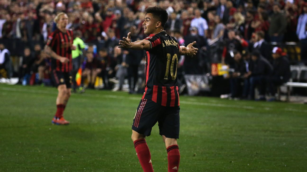 Pity Martinez reacts during Atlanta United's CONCACAF Champions League match against Herediano.