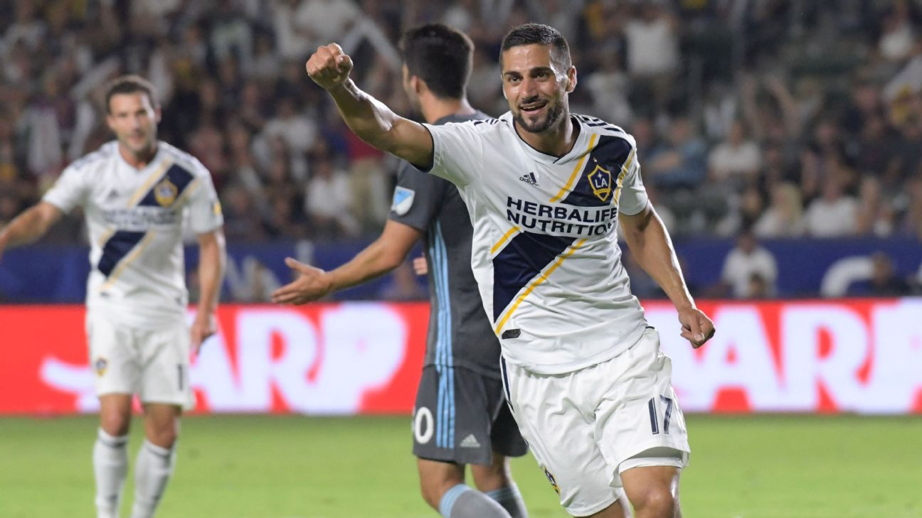 Sebastian Lletget celebrates during the LA Galaxy's MLS match against Minnesota United.