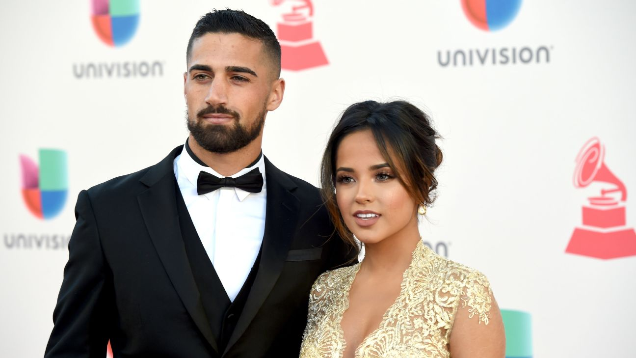 LA Galaxy midfielder Sebastian Lletget and girlfriend Becky G pose on the red carpet