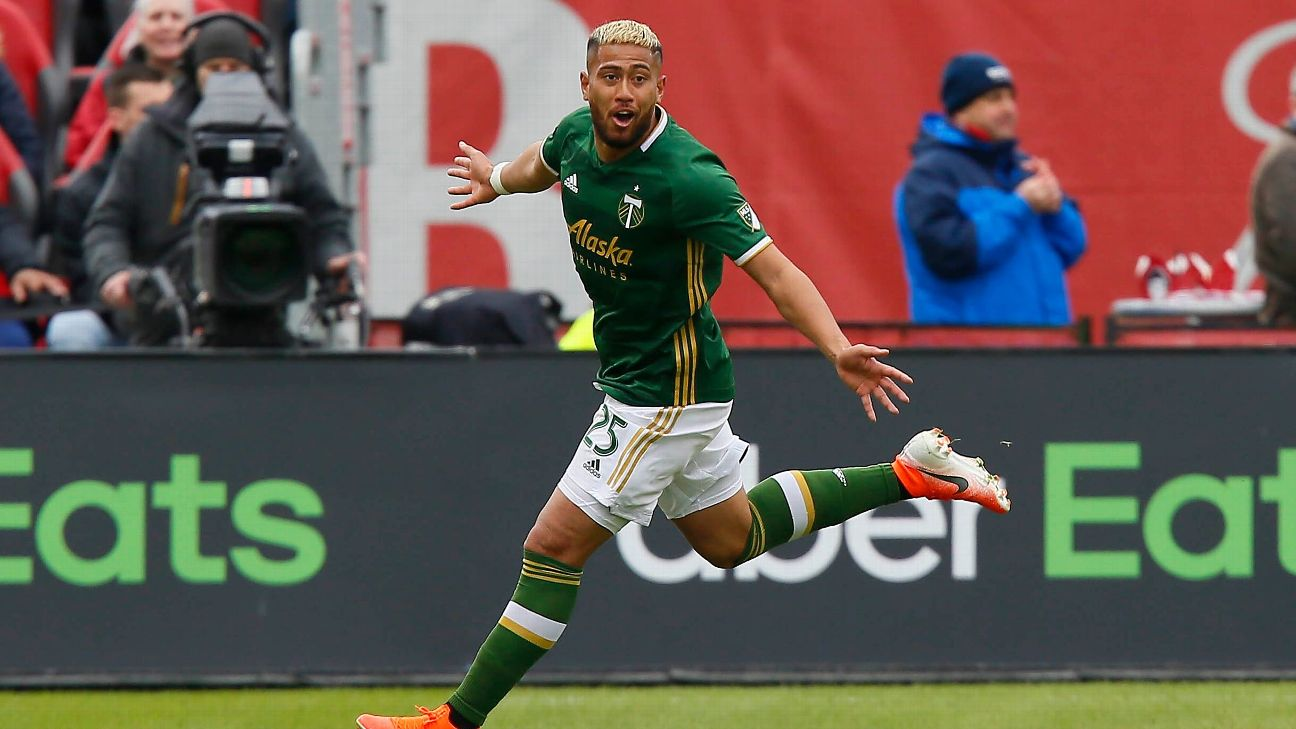 Portland Timbers defender Bill Tuiloma celebrates after scoring a goal against Toronto FC.