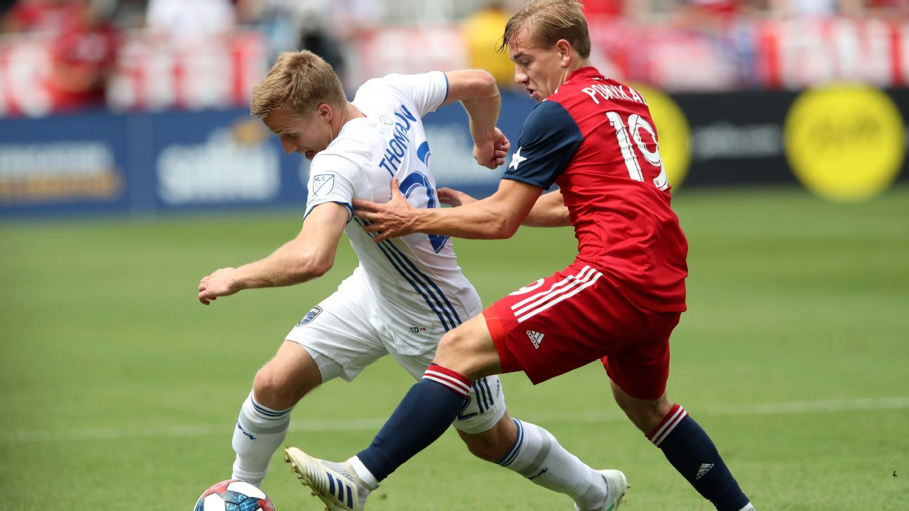 San Jose Earthquakes forward Tommy Thompson battles for the ball with FC Dallas midfielder Paxton Pomykal.