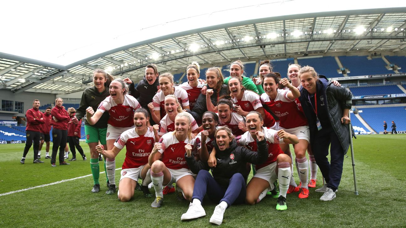 Arsenal Women players celebrate