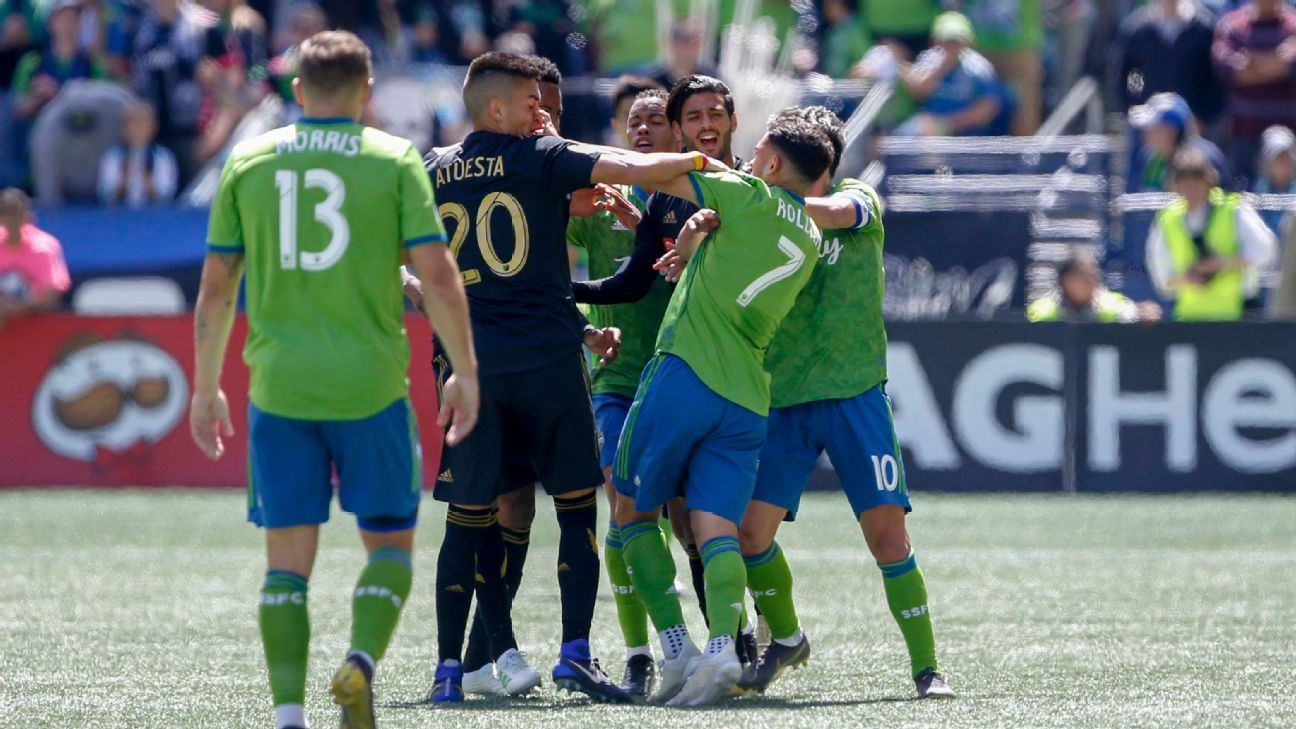 Cristian Roldan is sent off after his scuffle during the Seattle Sounders' MLS match against LAFC.