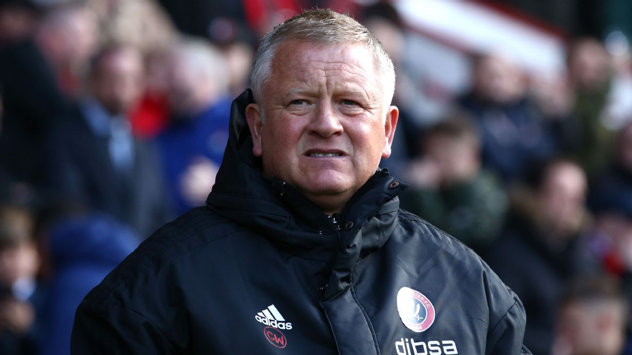 Chris Wilder looks on during Sheffield United's Championship match against Ipswich Town.