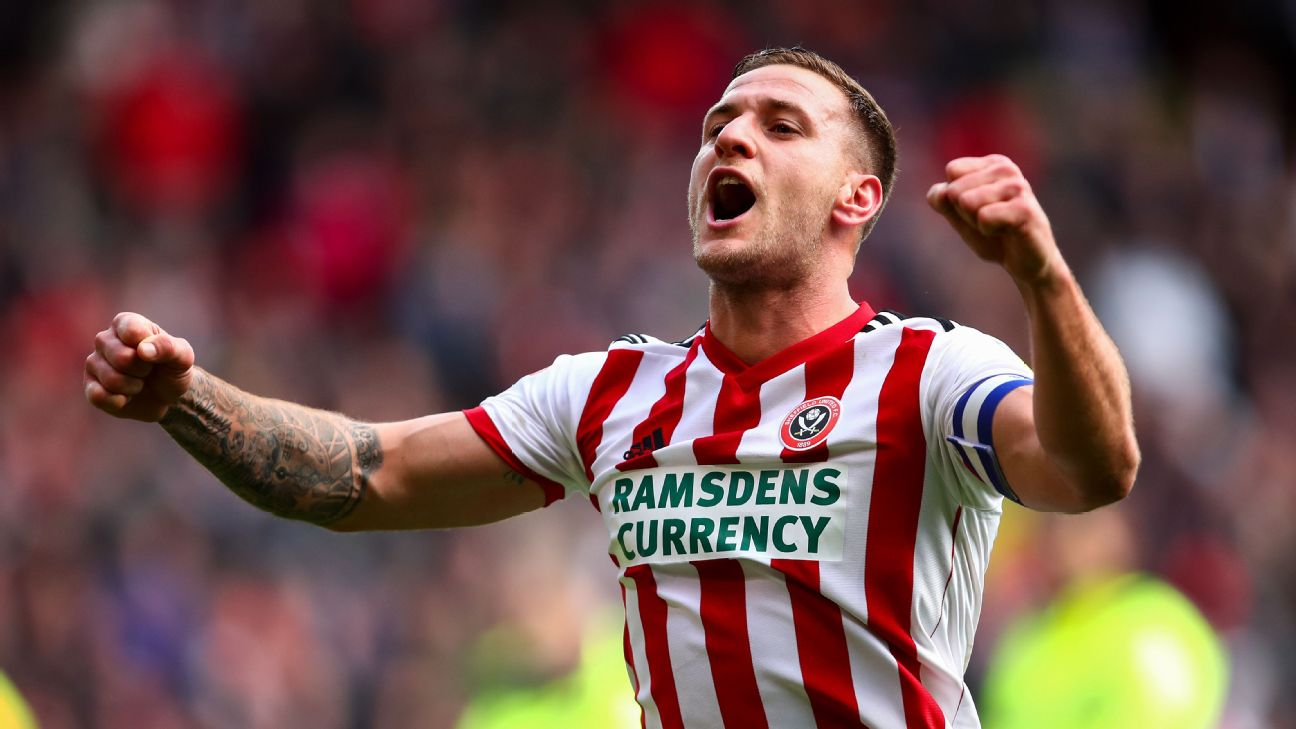 Billy Sharp celebrates after Sheffield United's Championship match against Ipswich Town.