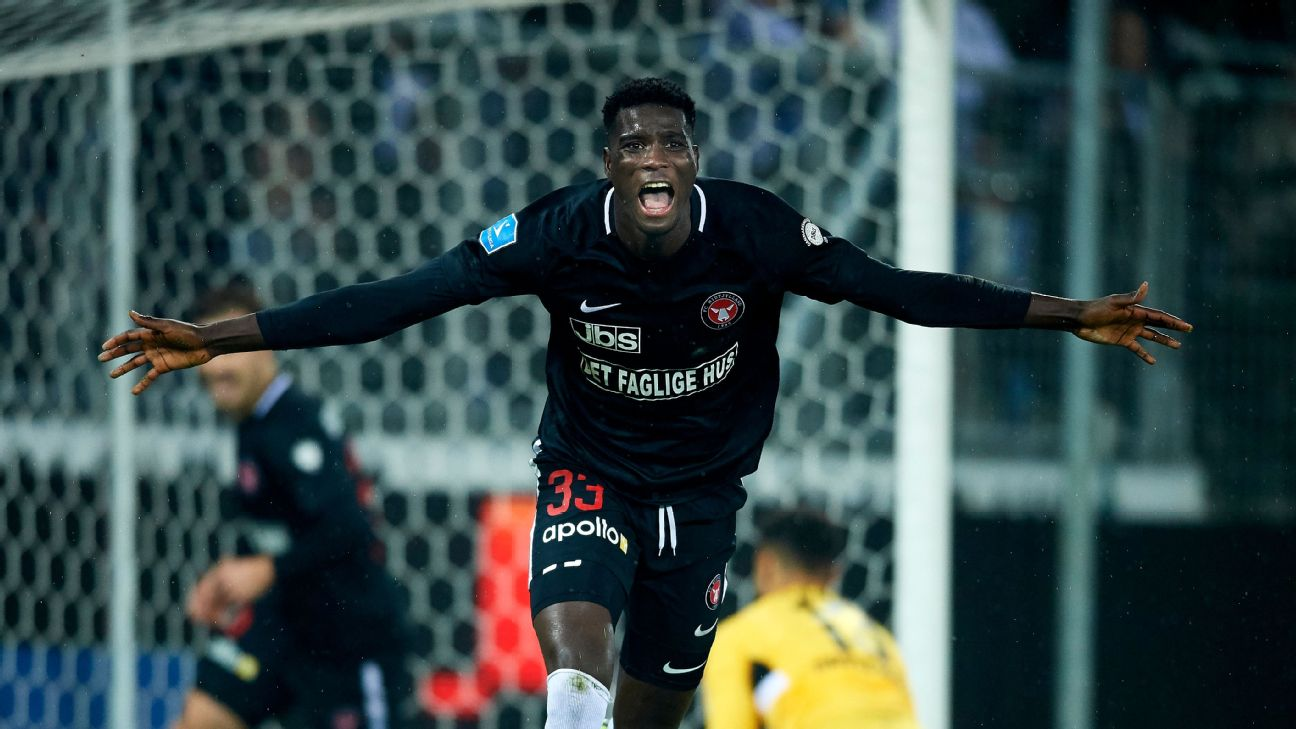 Paul Onuachu of FC Midtjylland kicked off April with a goal in the Danish Sydbank Pokalen Cup Semifinal against OB Odense.
