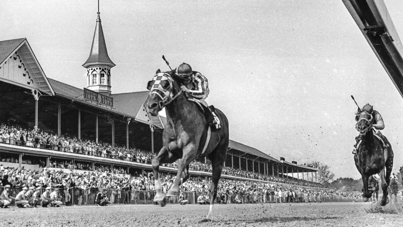 Secretariat overtakes Seattle Slew down the stretch to win virtual ...