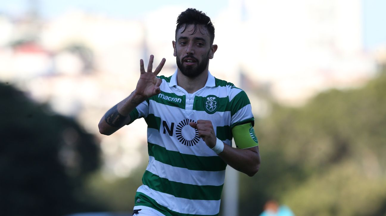 Bruno Fernandes celebrates after scoring in Sporting's Portuguese Liga win over Belenenses.
