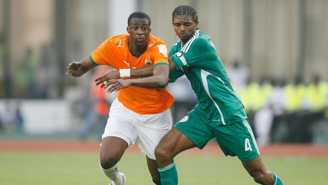 Kanu and Ivory Coast's Yaya Toure did battle at the 2008 Africa Cup of Nations, though Toure's side came out victorious in their opening group encounter.