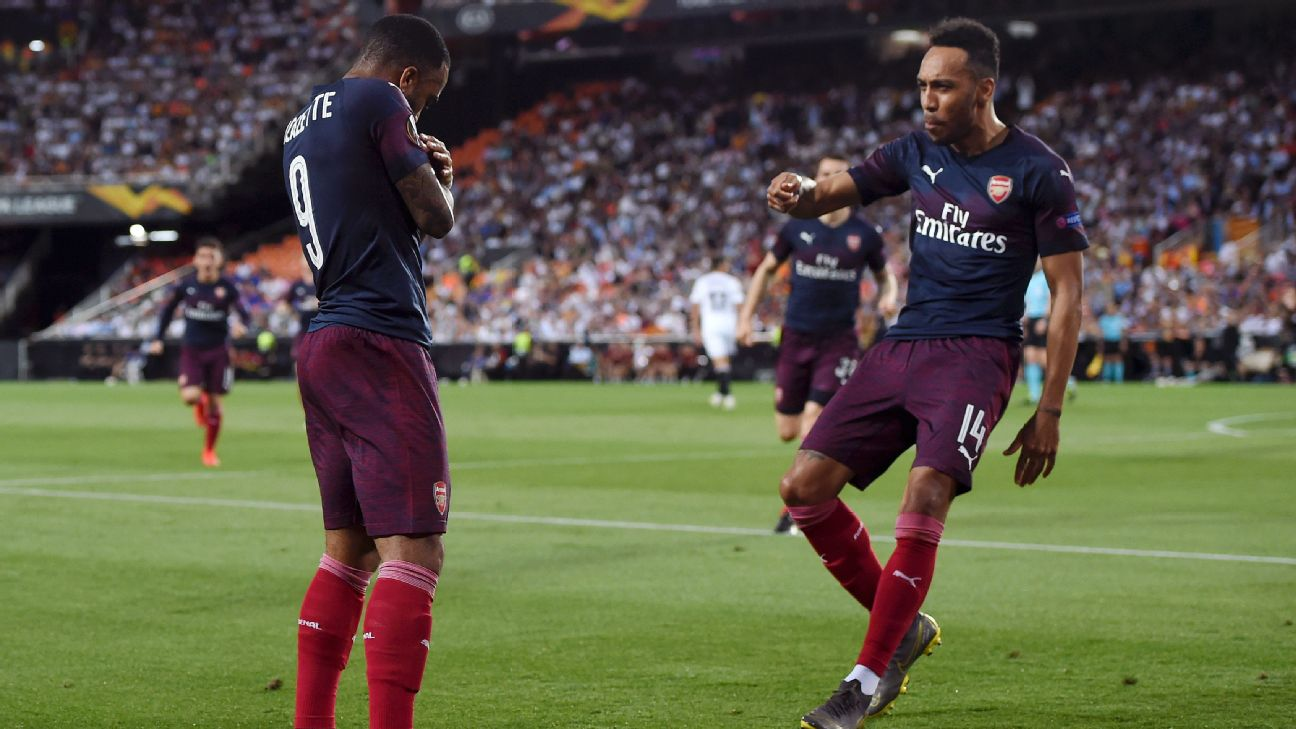 Aubameyang bags hat trick, Lacazette complements as Arsenal cruise into Europa League final