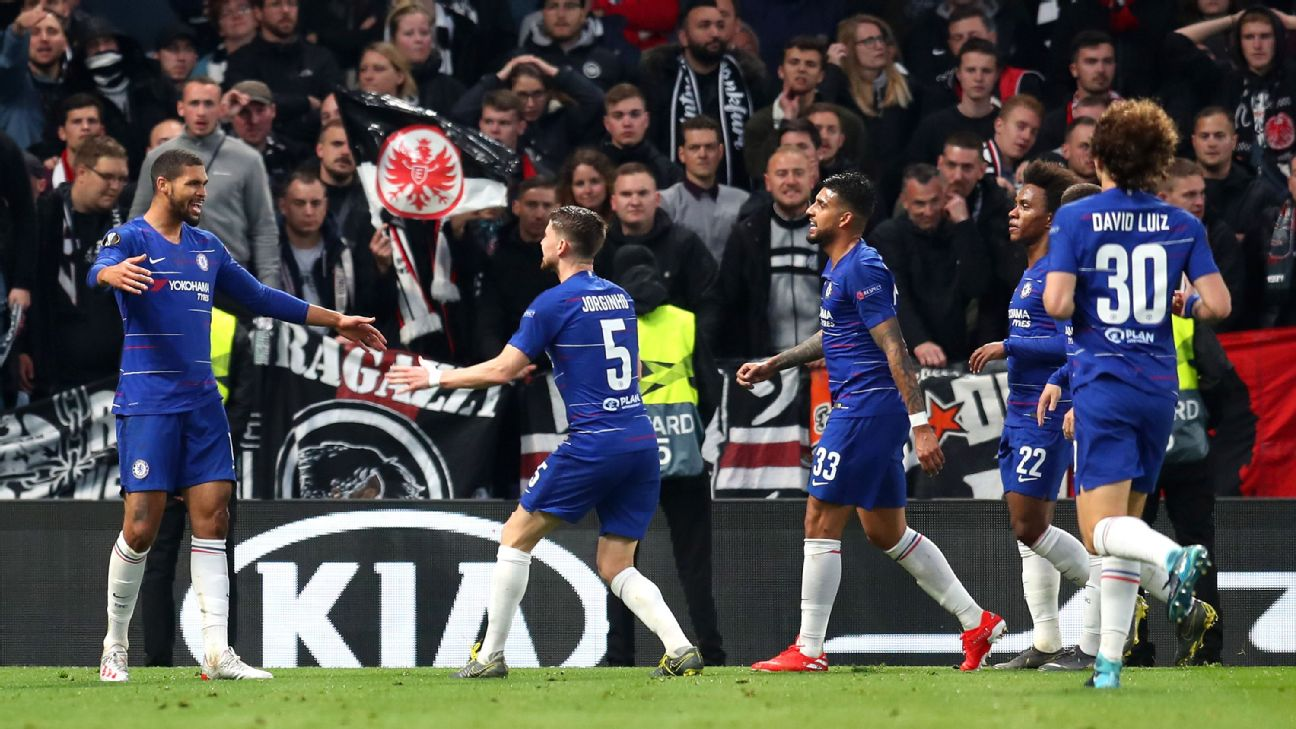 Ruben Loftus-Cheek, left, celebrates with Chelsea teammates after scoring a goal in the Europa League.
