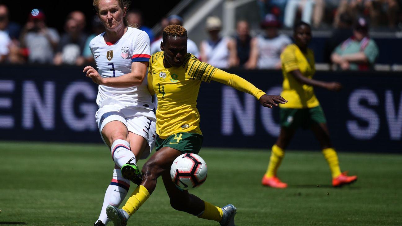 Sam Mewis scored in each half to lead the U.S. in a 3-0 win against South Africa.