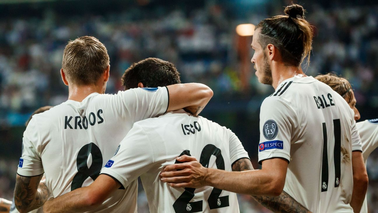 Toni Kroos, Isco and Gareth Bale celebrate during Real Madrid's Champions League match against Roma.