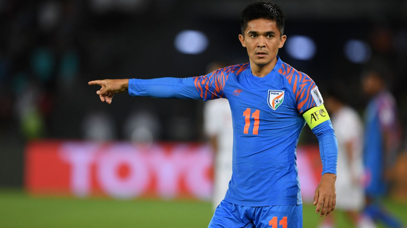 Sunil Chhetri of India gestures during the AFC Asian Cup Group A match between India and the United Arab Emirates