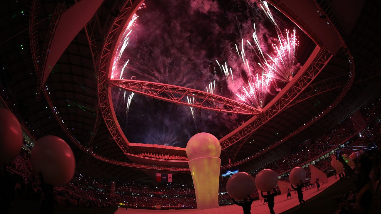 Fireworks are shot off at the inauguration of the Al Wakrah Stadium, which will be used at the 2022 WC in Qatar.