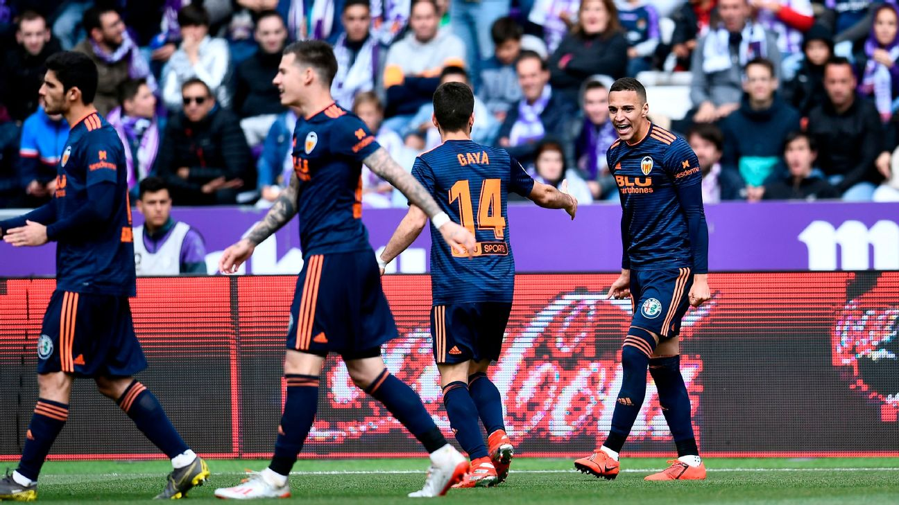 Rodrigo Moreno celebrates his goal for Valencia against Real Valladolid which helped seal Champions League football.
