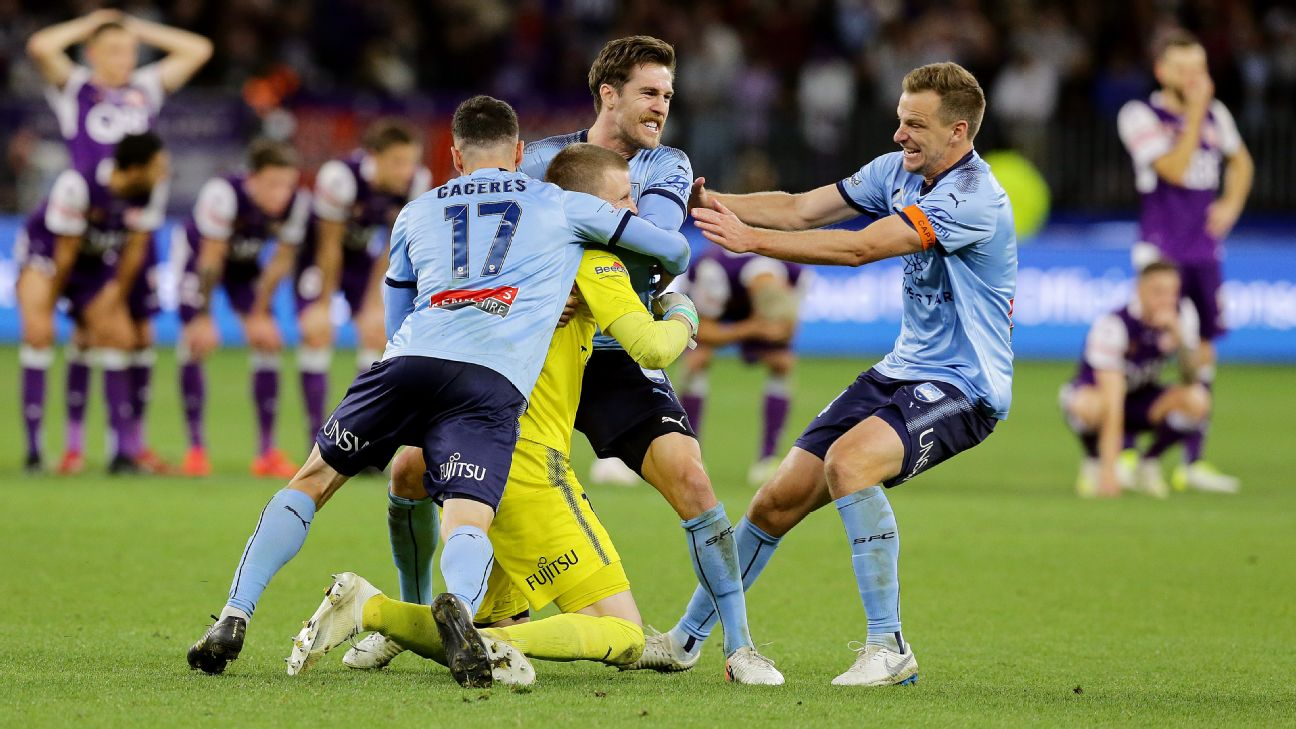 Sydney FC celebrate after defeating Perth Glory on penalties