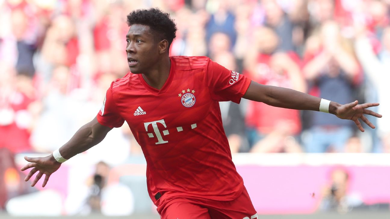 David Alaba celebrates after scoring in Bayern Munich's Bundesliga win over Eintracht Frankfurt.